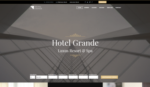 caesar web - Web Design für Hotels - Demohotel 4 - modern, strukturiert und auf das Wesentliche konzentriert!