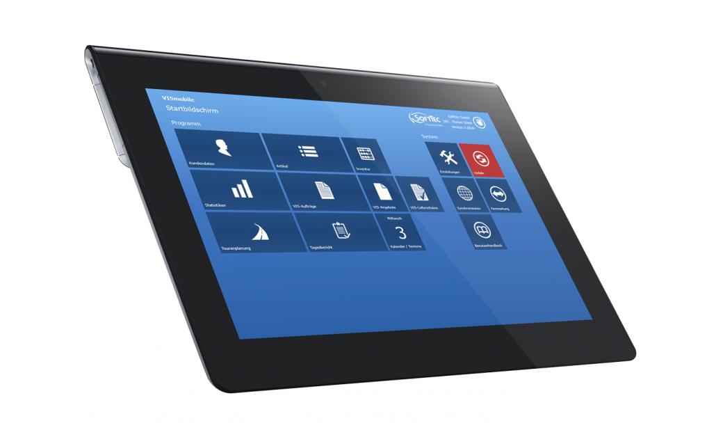 Die Software und Außendienst-Steuerung VIS-mobile auf einem Windows Tablet installiert.