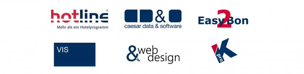 Marken der SoftTec GmbH hotline Hotelsoftware caesar data Easy2Bon Web Design VIS-mobile
