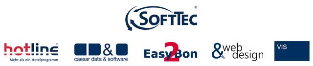Marken der SoftTec GmbH hotline Hotelsoftware caesar data Easy2Bon Web Design VIS-mobile