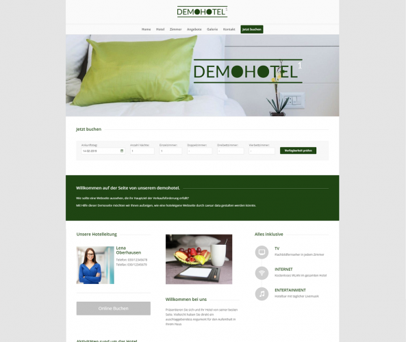 Web Design für Hotels caesar data & software Demohotel 1