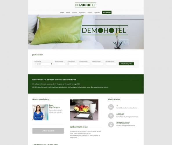 Web Design für Hotels caesar data & software Demohotel 1