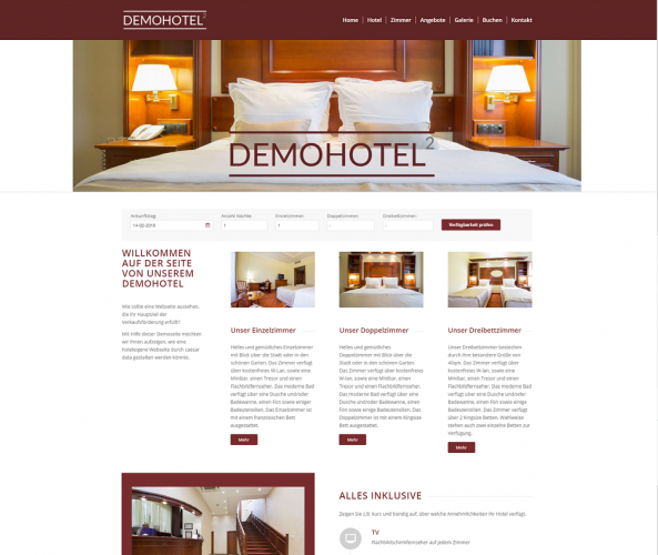 Web Design für Hotels caesar data & software Demohotel 2
