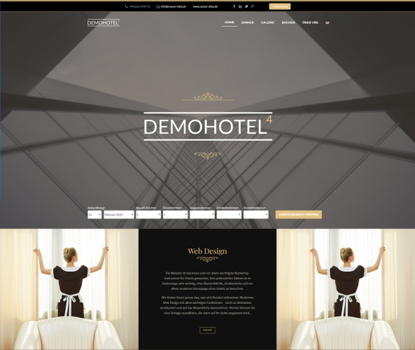 Web Design für Hotels caesar data & software Demohotel 4