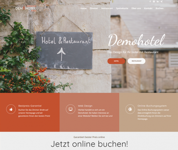 Web Design für Hotels caesar data & software Demohotel 6