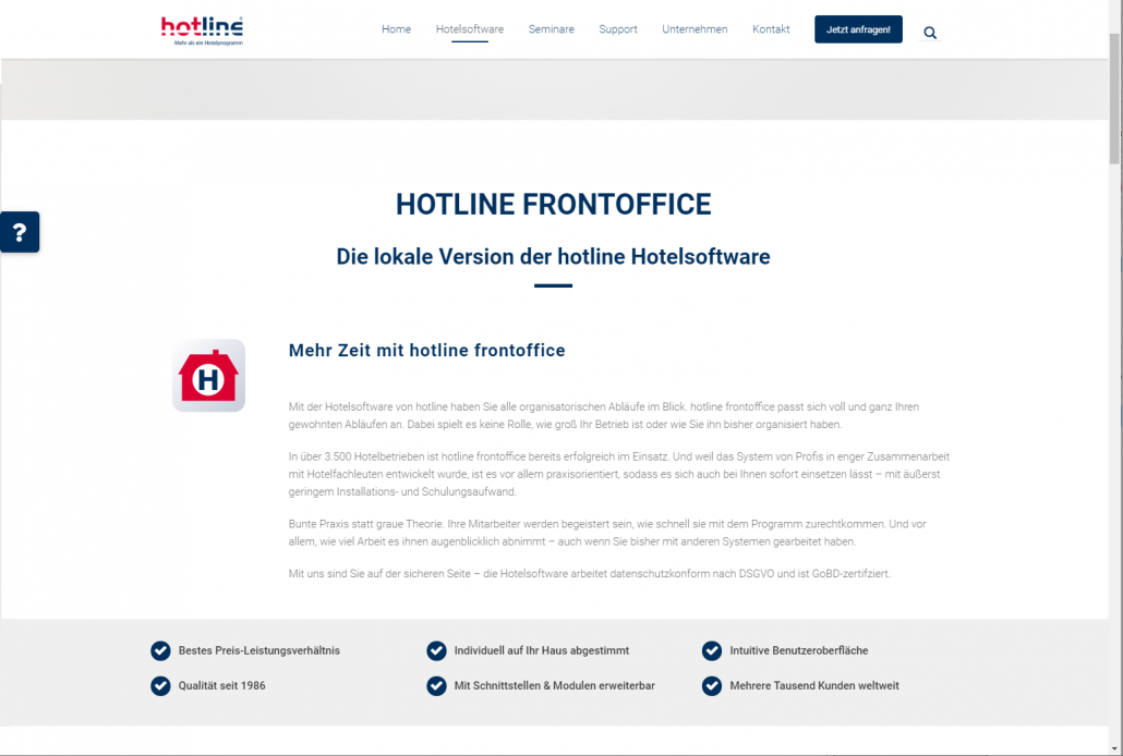 Neue hotline Hotelsoftware Website Web Design Homepage hotlinesoftware